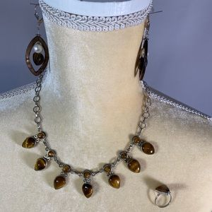 Necklace & Earring & Ring Set- Tigers Eye